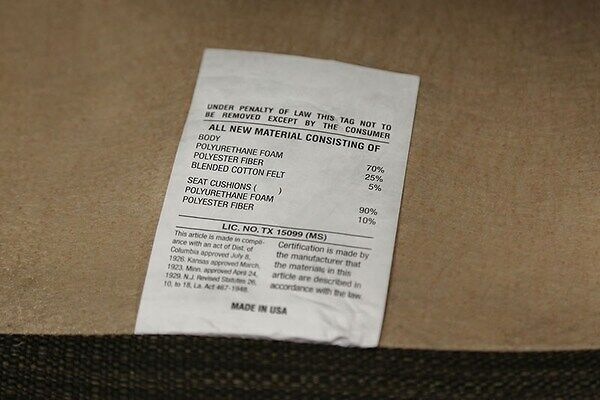 Usually found on the furniture or drapery tag,